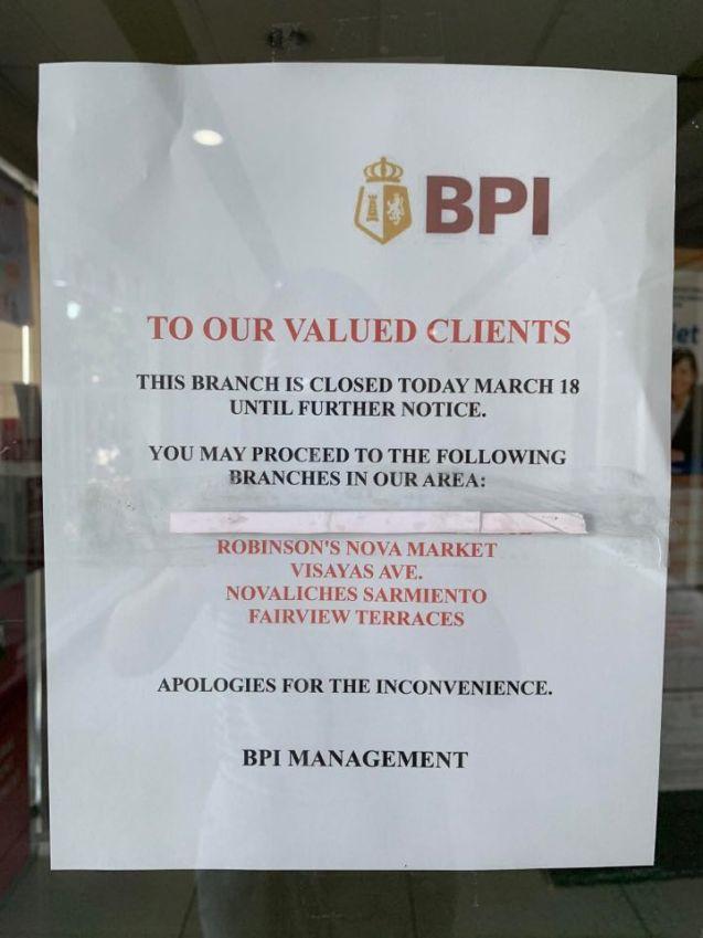 BPI closed